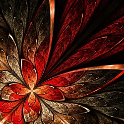 Beautiful fractal flower in yellow and red. Computer generated graphics.