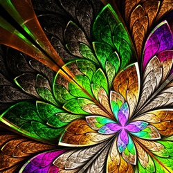 Beautiful fractal flower in yellow, green and purple. Computer generated graphics.