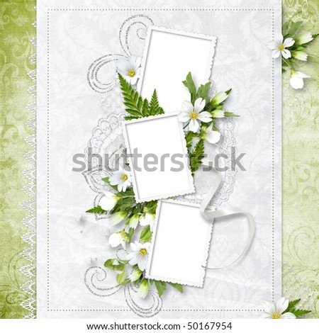 Beautiful frame for three photos - stock photo