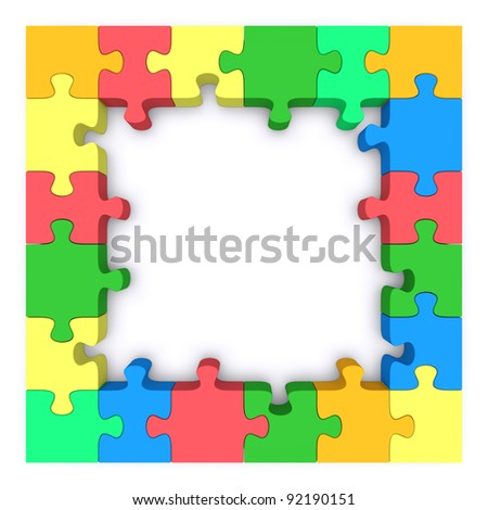Beautiful frame made ??up of pieces of colored jigsaw puzzle. 3d ...