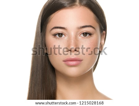 Beautiful freckles woman with healthy skin and hair long smooth brunette hairstyle cosmetic concept isolated on white ストックフォト ©