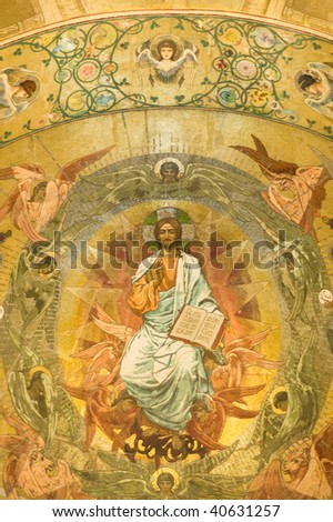 beautiful fresco in Russian orthodox church, St. Petersburg, Russia