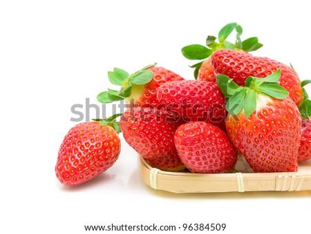 beautiful, fresh and juicy strawberries closeup on white background