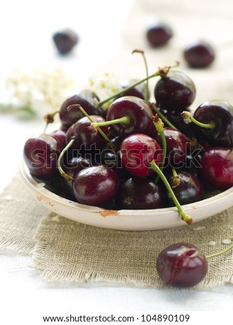 beautiful fresh cherry on a plate, selective focus