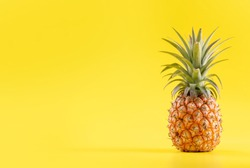 Beautiful fresh pineapple isolated on bright yellow background, summer seasonal fruit design idea pattern concept, copy space, close up