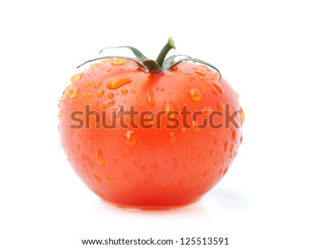beautiful fresh tomato with water drops isolated on white background
