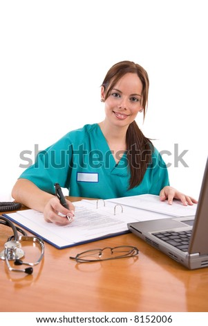Beautiful friendly healthcare worker in her office - over a white background