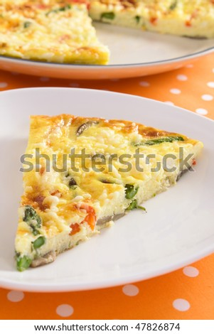 Beautiful frittata filled with asparagus, red bell pepper, mushrooms, ricotta, and parmesan cheese.