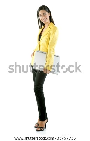 Beautiful full body woman portrait isolated on white