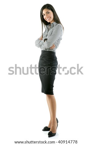 Beautiful full body woman portrait isolated on white - stock photo