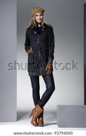 Beautiful full body young fashion model posing