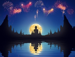 Beautiful Full moon and blue Night sky with silhouette of pagoda in temple montage photo for celebrate background concept Elements of this image furnished by NASA