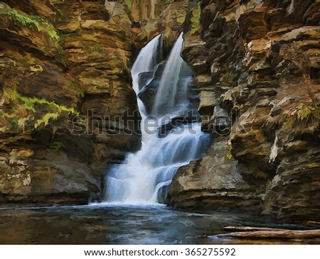 Beautiful Fulmer Falls in Autumn, located in the Poconos of Pennsylvania turned into a colorful painting. Fulmer Falls is located in the George W Childs State Park.