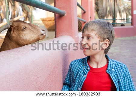 Beautiful funny child looking at a goat in a zoo smiling happily. (Nature protection concept)