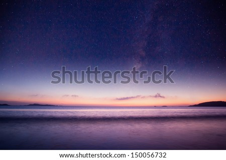beautiful galaxy  over the sea #150056732