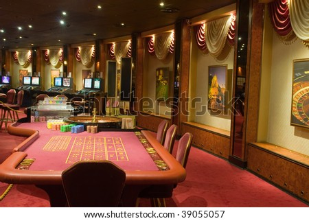 Beautiful game hall in a rich casino. The given interior does not exist..