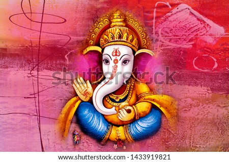 Beautiful Ganesha Painting with Textured Background
