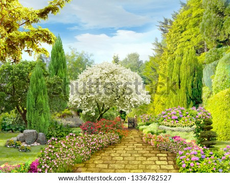 Beautiful garden. Garden path in flower beds. Digital fresco