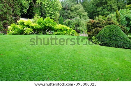 Beautiful Garden with a Freshly Mowed Lawn