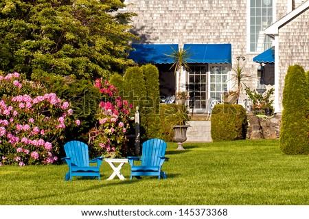 Beautiful garden with outdoor furniture