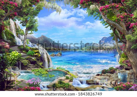 Beautiful garden with pink and white flowers, petals,waterfall, with access to the lake. Digital collage, mural and mural. Wallpaper. Poster design. Modular panel. 3d render