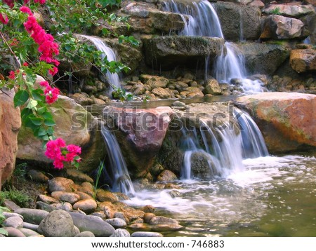 Beautiful Garden -- with rocks and cascading water