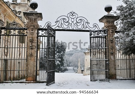 Beautiful gate in the park