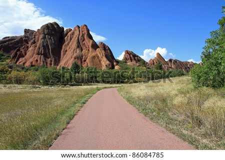 Beautiful geological formations of red sandstone in Roxborough State Park in Colorado, near Denver
