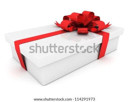 beautiful gift box with a bow and ribbons cranes - stock photo