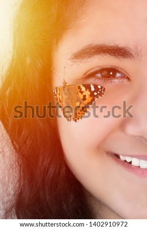 beautiful girl and beautiful butterfly