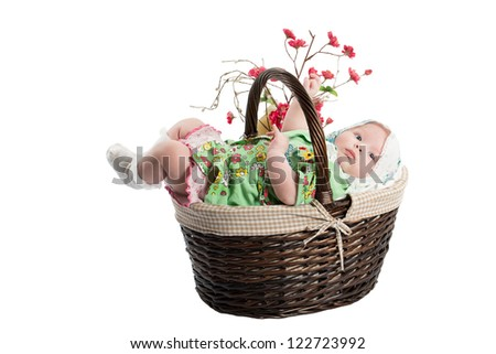 Beautiful girl baby in a basket isolated on white background .Use it for a child, parenting or love concept