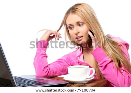 Beautiful girl calling by phone in lunch time