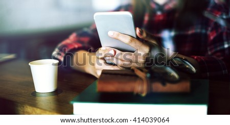 Beautiful Girl Checkered Shirt Mobile Phone Cafe Concept