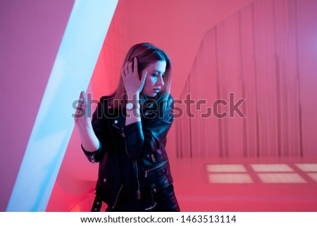 Portrait of a beautiful girl dancing on a party Free Images