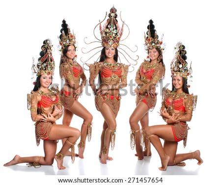 beautiful girl dressed as Thai dancers. dance moves. beautiful colorful costumes, vivid emotions