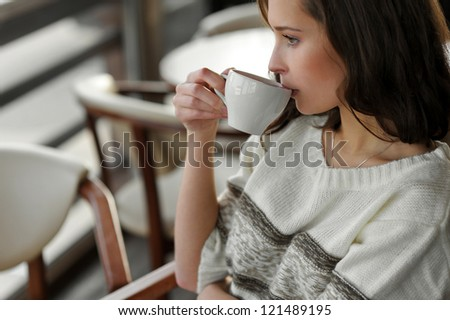beautiful girl drinking tea, coffee