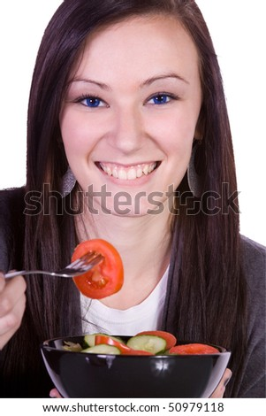 Beautiful Girl Eating Salad - Isolated Close up