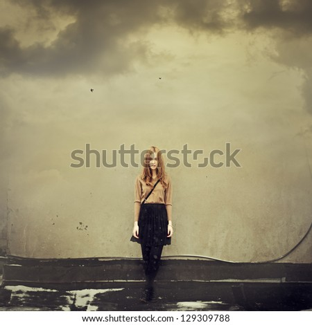 Beautiful girl hipster dreams of clouds. Art Photos - stock photo