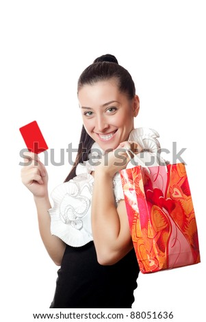 beautiful girl holding a credit card