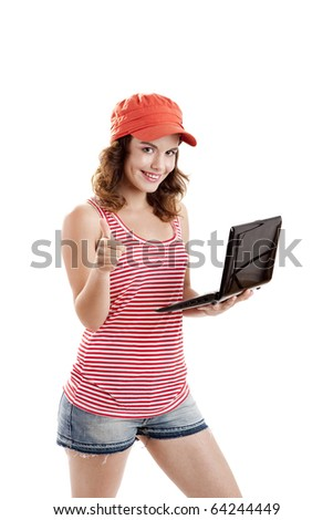 Beautiful girl holding a laptop and with thumbs up, isolated on white