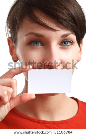 beautiful girl holding an empty business card, hiding her mouth