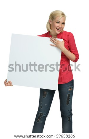 Beautiful Girl Holding clear white card - copy space!