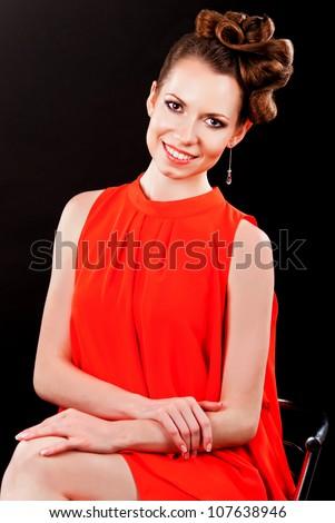 Beautiful Girl Sitting On A Bar Stool Stock Photo Hot