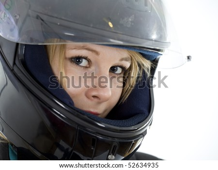 beautiful girl in a motorcycle helmet on a white background