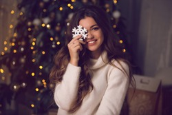 beautiful girl in a New Year's interior