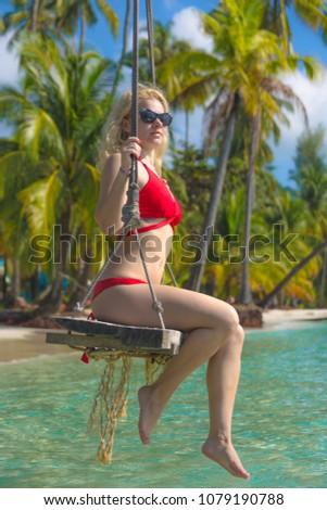 Beautiful girl in a red bikini. Island Kud. Thailand. #1079190788