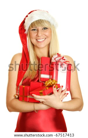 Beautiful girl in a red dress and hat of Santa with a big gift box. Lots of copyspace and room for text on this isolate
