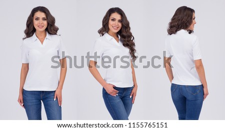 Beautiful girl in a t-shirt of white color. Front view, look behind, side view. T-shirt template