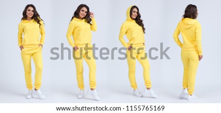 Stock Photo Beautiful girl in a yellow sports suit with a hood. Front view, side view, rear view. Sweatshirt template