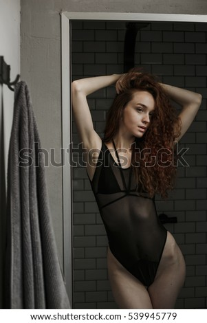 Bathroom in picture Black girl sexy taking